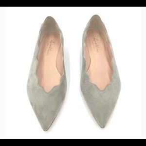 Avellini Grey suede scallop flats MADE IN ITALY
